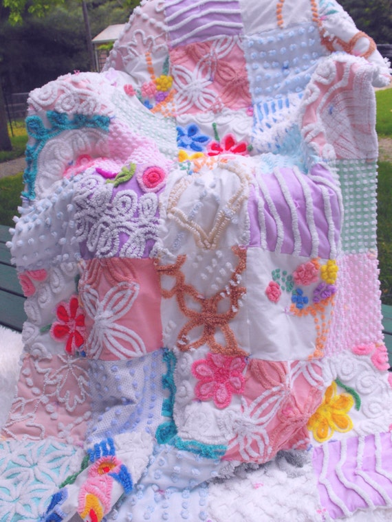 Vintage Chenille Patchwork Throw Size Quilt Frosting