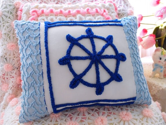 Beach Cottage Vintage Chenille Ships Wheel Patchwork Pillow Pirate