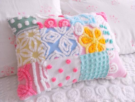 GORGEOUS SPRING COTTAGE Vintage Chenille Patchwork Pillow