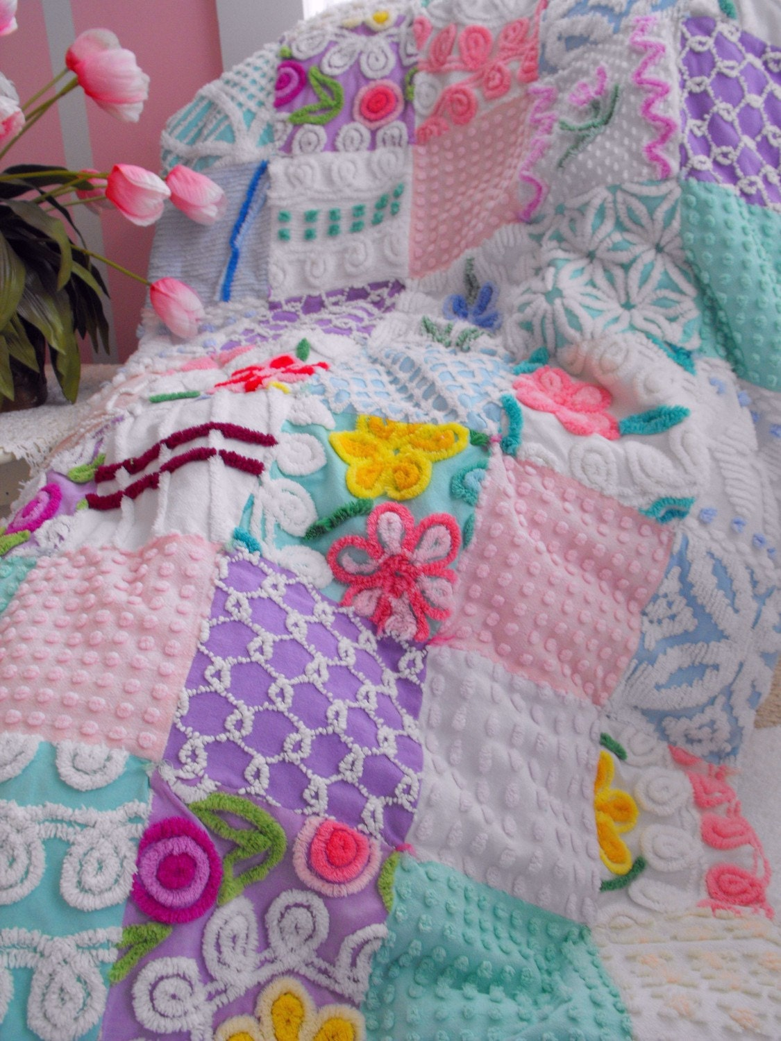 Princess Vintage Chenille Patchwork Throw Size Candy Quilt