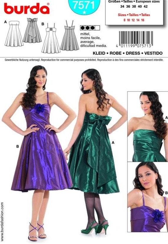 Juniors or Teens Prom Dresses Pattern - Burda 7571 Size 8-16