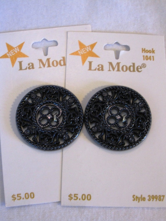 "Navy Filigree Buttons - 1.25"" Wide Made in Spain"
