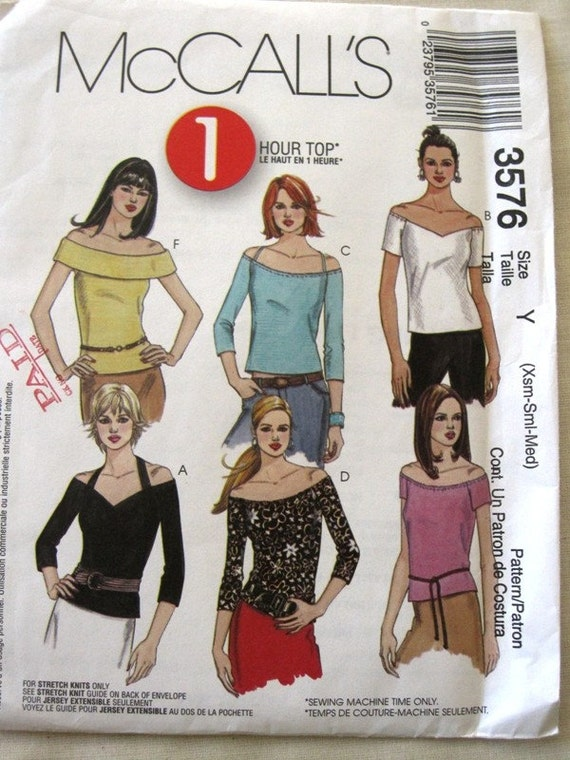Easy Funky Off The Shoulder Shirt Pattern - McCalls 3576 Size XS - M