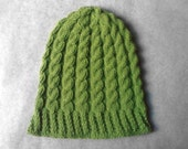 Shimmery Green Cable Beanie
