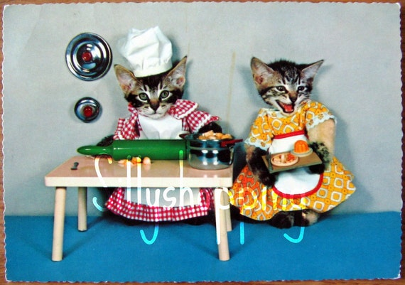 Vintage 70s Cute Dressed Up Cats Postcard We Love To Cook