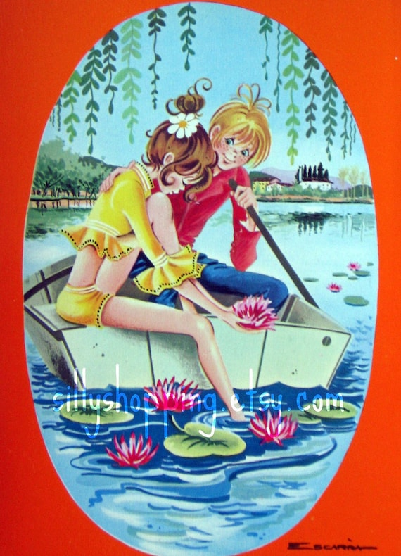 Vintage Big Eyed Couple Postcard by Escarra