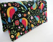 Handmade Fabric Checkbook Cove- Bird Floral Black