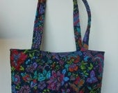 Handmade Quilted Tote Shoulder Diaper Bag - French Floral  Paisley
