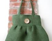 Pleated Hobo Shoulder Purse Handbag Everyday Bag - Green Burlap Fabric,  Organic Button