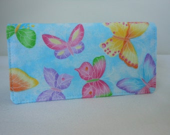 Fabric Checkbook Cover - Butterfly Glitter  on Blue