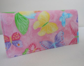Fabric Checkbook Cover - Butterfly Glitter  on Pink