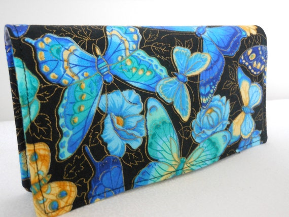 Fabric Checkbook Cover - Butterfly  in Blues, Cranston Print Works Fabric by Joan  Messmore