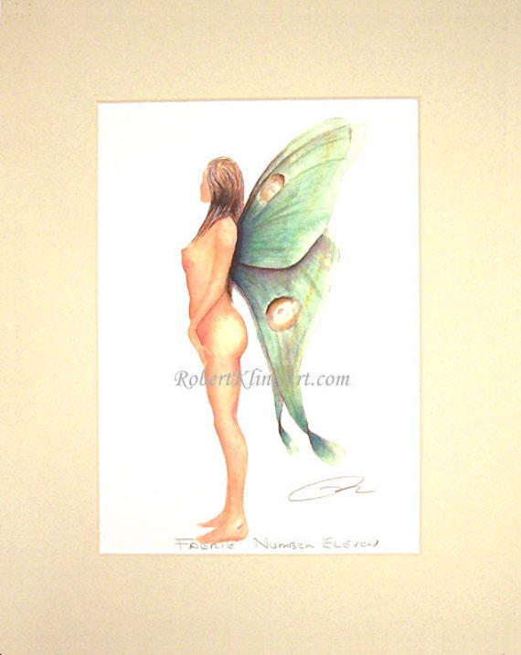 """Fairy Faerie with Indian Moon Luna Moth Wings Fantasy Art Signed Robert Kline 8"""" x 10"""" Matted Print Woodland Forest Home Decor"""