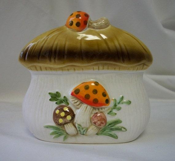 Vintage 1970's Merry Mushroom Ceramic Kitsch Retro Napkin Holder