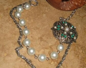 Recycled REFURBISHED vintage green rhinestone and pearl necklace