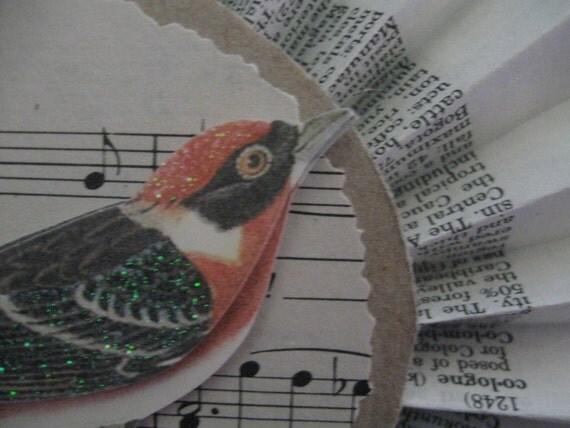 Spring Rosette Paper Ornament - Paper Rosette - Spring Decor - Gift Wrap Embellishment - Gift Tag - Shabby Decor - Bird