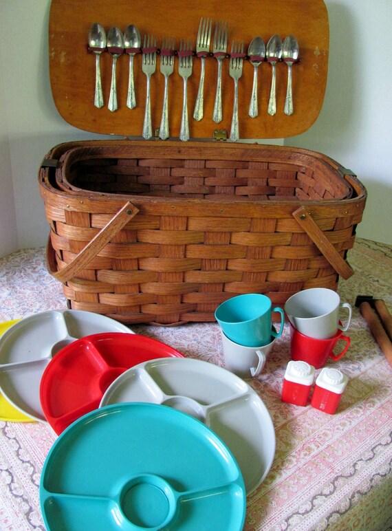 Wooden Picnic Basket Set : Vintage s shelton oak and ash splint woven wood picnic