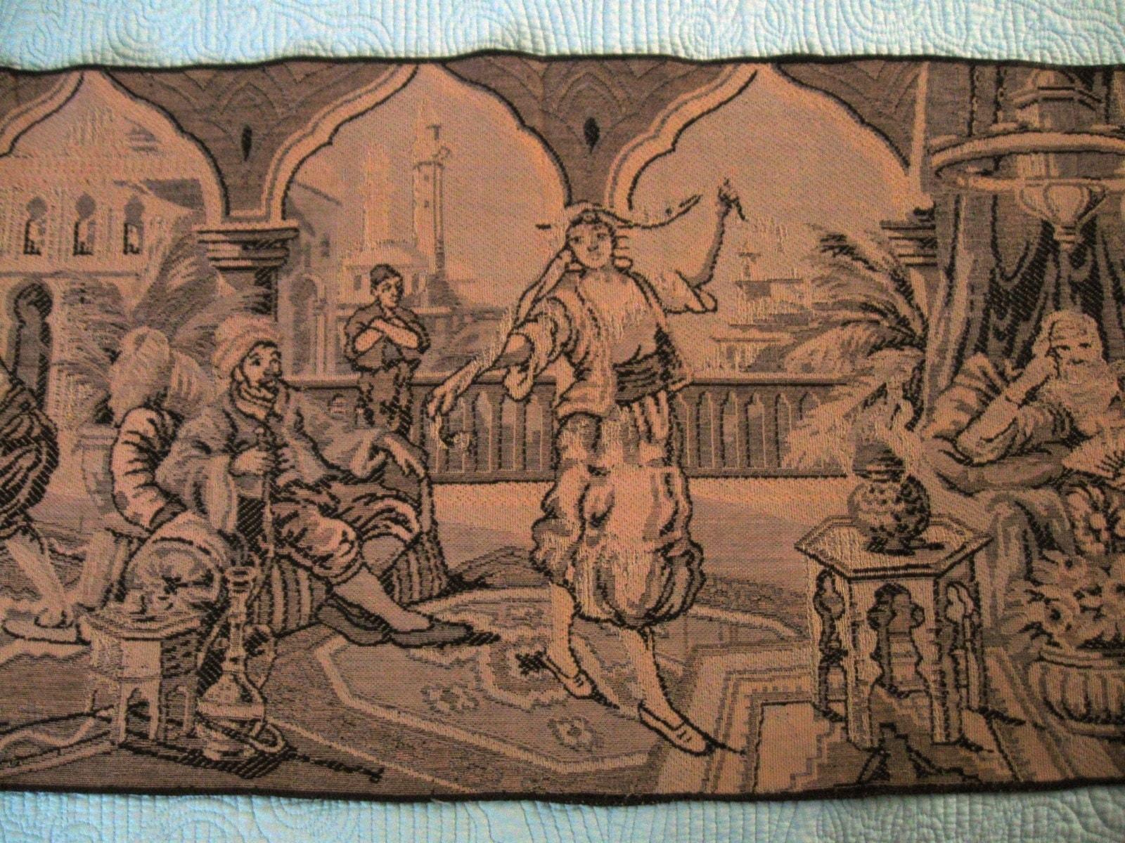 Vintage Victorian Tapestry Wall Hanging Dancing By Petuniapie