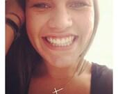 Kelly Ripa Sideways Cross Necklace, Sterling Silver, Celebrity Inspired