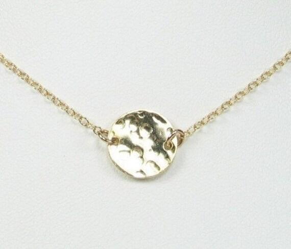Hammered Disc Necklace Station Pendant Gold-Filled