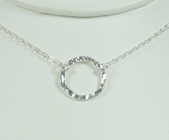 Small Hammered Circle Necklace Sterling Silver