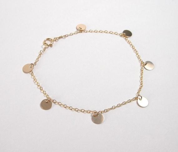 Dangling Disc Bracelet, Tiny Disc Bracelet, 14kt gold filled, Matches Cougar town Necklace