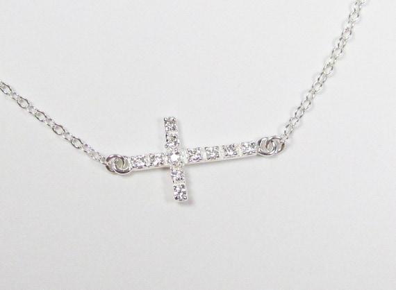 SMALL CZ Sideways Cross Necklace, Cubic Zirconia, Taylor Jacobson Celebrity