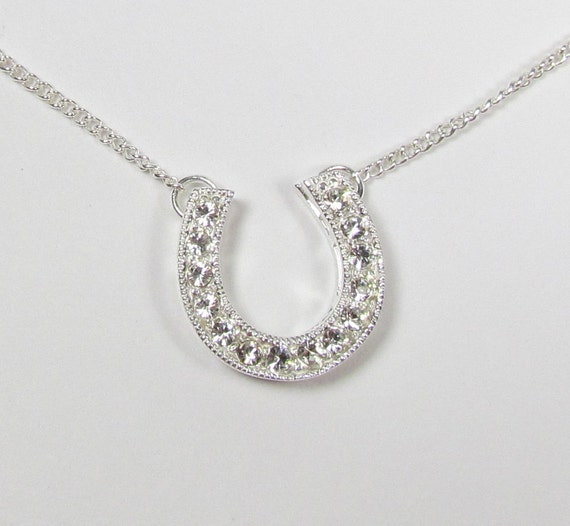 CZ Horseshoe Necklace - Sterling Silver - Celebrity Inspired