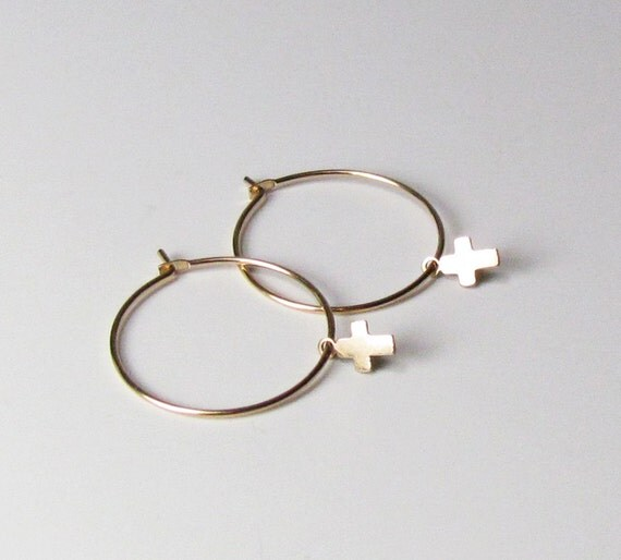 Cross Hoop Earrings-- 14kt Gold Filled or Sterling silver