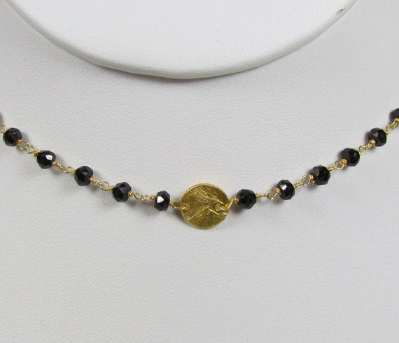 Black Onyx Gemstone and Gold Brushed Disc Necklace