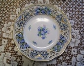 Antique Schumann Arzberg Forget Me Not Chalet Germany Pierced Snack Plate Excellent Condition Rare