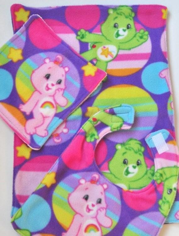 Care Bear Baby Burp Cloth Bib and Washcloth Set SALE