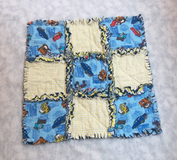 """Baby Blanket Disney Pixar Cars 17"""" Rag Quilt for New Baby Gift SALE Baby Quilt"""