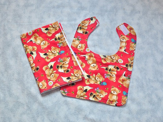 Cute Baby Bib and Baby Burp Cloth - Teddy Bears