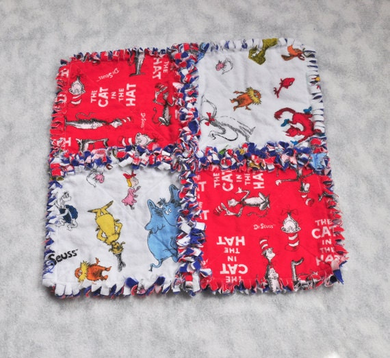 Baby Blanket - Dr Seuss Cat in the Hat - Baby Rag Security Blanket, Baby Shower Gift
