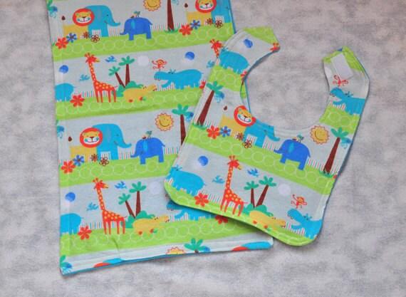 Baby Bib - SALE - Baby Boy Bib and Baby Burp Cloth with Cute Zoo Animals Great  Baby Shower Gift Idea