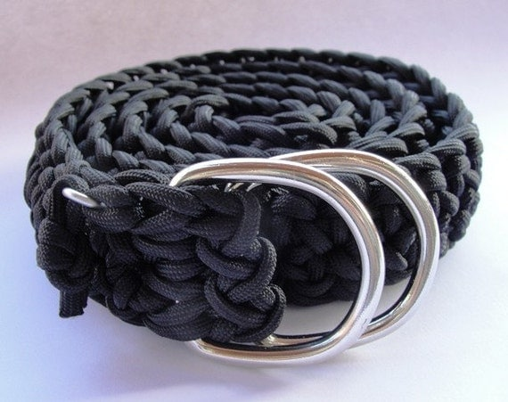 550 paracord survival belt black with d rings by survivorgeek for How to make a belt out of paracord