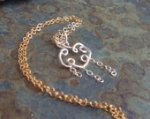Petite Sterling Rain Cloud & 14k Gold Filled Necklace Teen Tiny Teeny Storm Weather Spring Thunder April Showers Drops
