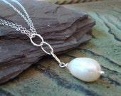Large Pearl Sterling Silver Drop Necklace Wedding Bridal Winter June Birthstone Snow Bridesmaid