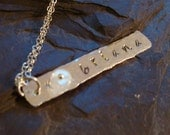 Sterling Silver Personalized Name and Rainbow Moonstone Gemstone Necklace Rivet Hammered Organic Polished Custom