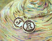 Two Recycled Fine Silver Wax Seal Initial Necklace Custom Double Sterling Silver Chain Pendant Oxidized Letter