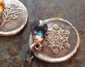 Recycled Fine Silver Wax Seal Snowflake Blue Topaz Gemstone Pendant Sterling Winter December Birthstone PMC .999