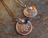 Recycled Fine Silver Wax Seal Snowflake London Blue Topaz Gemstone Pendant Sterling Chain Christmas Winter December Birthstone