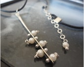 Sterling Silver Pearl Rivet Leather Necklace June Birthstone Pussy Willow Branch Budding Spring Bud Twig Nature Organic Natural Blooming