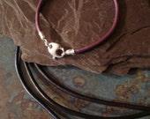 3mm Leather & Sterling Silver Bracelet for European Beads Big Hole 5mm Purple Black Brown Metallic