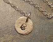 Petite Sterling Silver Initial Necklace Hand Stamped Circle Round Disk Custom Personalized Chain Bridesmaid