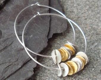 Sterling Silver 24k Gold Vermeil  Ruffled  Wavy Disc Hoops Heishi Disk Satin Brushed Earrings