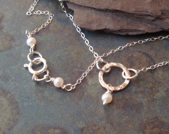 Sterling Silver and Pearl Eternity Ring Necklace