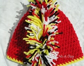 Boys Crochet Mohawk Team Beanie in Red, Yellow, White, and Black