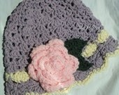 Lacy Crochet Baby Cotton Sun Hat in Lavender with Pink Rose 6 to 12 months